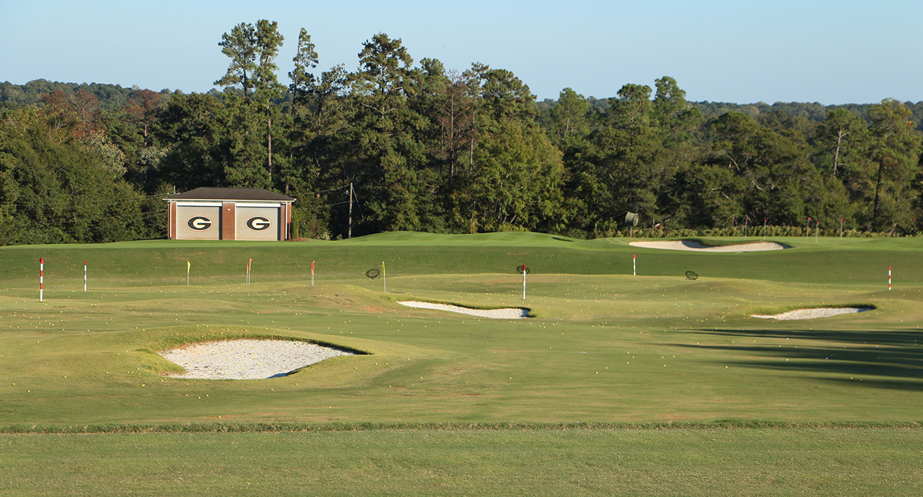 Photo of the range's target area, which contains numerous bumkered greens.