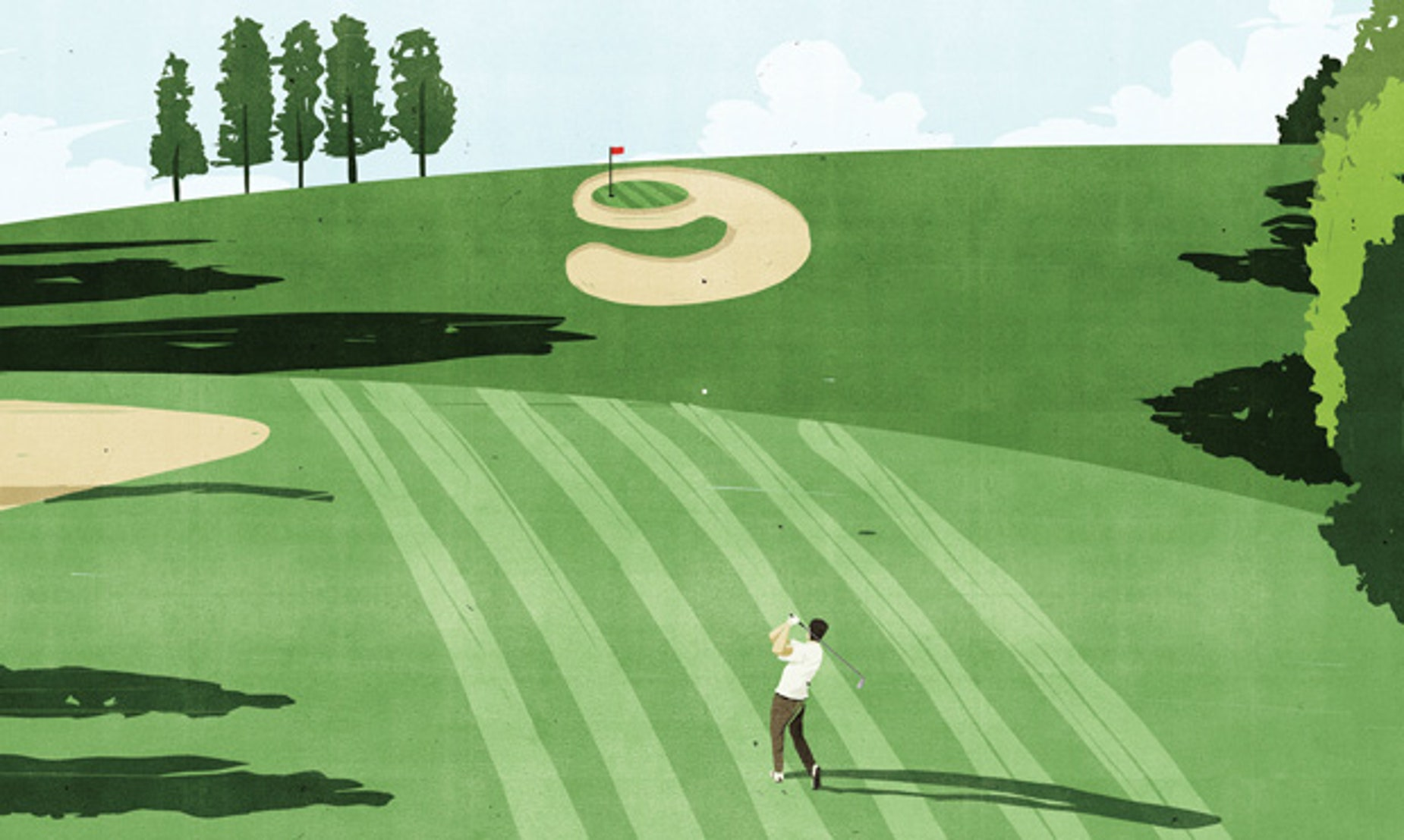 Graphic of golfer at the 9th hole.
