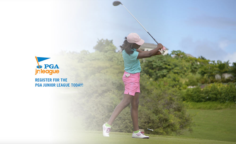 "Young woman hits a ball with the text ""PGA Jr League, register for the PGA Junior Leage today!"""
